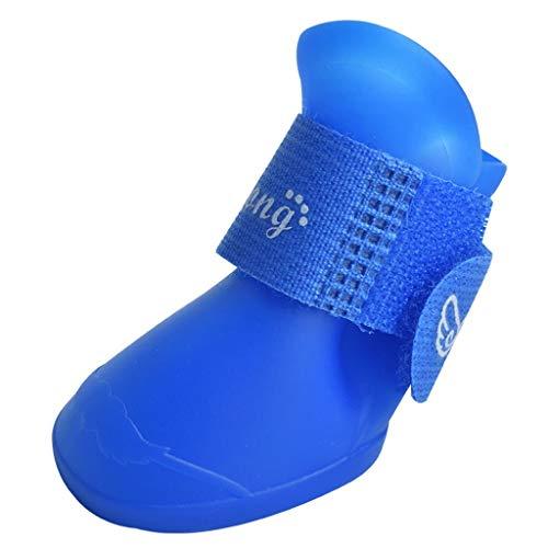 ZJOUJ Regenstiefel- Hund rutschfeste wasserdichte Haustier Regen Stiefel, Outdoor Hund rutschfeste Silikon Fußabdeckung (Farbe : Blau, größe : S) (Spiderman Stiefel Regen Jungen)