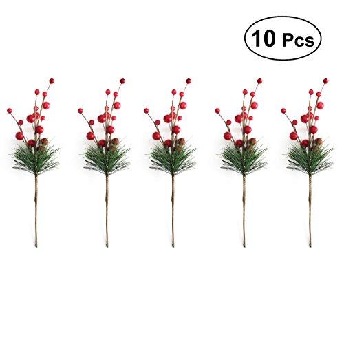 healifty 100Berry Picks Weihnachten Tannenzapfen und rot Berry Floral Bilder für Weihnachtsschmuck