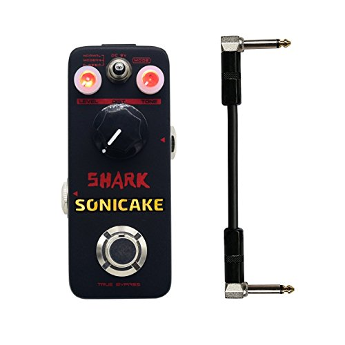 El Pedal de Distorsion Sonicake Shark Distortion Tiene Una Amplia Gama de Sonidos Con 3 Posiciones Desde Vintage Hasta Agresivo Cable de 6 Pulgadas de Regalo