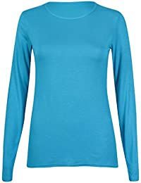 New Ladies Plain Stretch Fit Long Sleeve Womens T-Shirt Round Neck Basic Top Turquoise Size 8 - 10