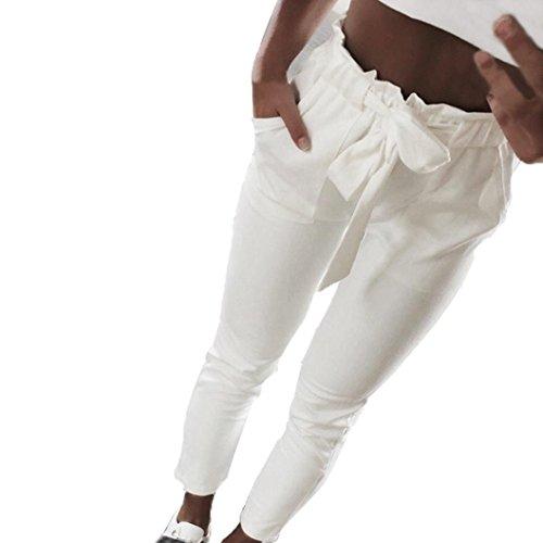 OHQ Damen Hosen Elegant High Waist Stretch Chiffon Skinny Hosen Pants Casual Streetwear Hosen mit Tunnelzug (Weiß(#3), XL)
