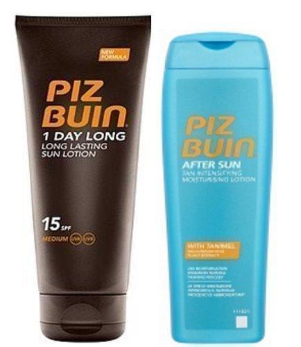 Piz Buin 1 Tag lang Duo Sonnencreme SPF 15 groß 200ml & Tan Intensifier 200ml
