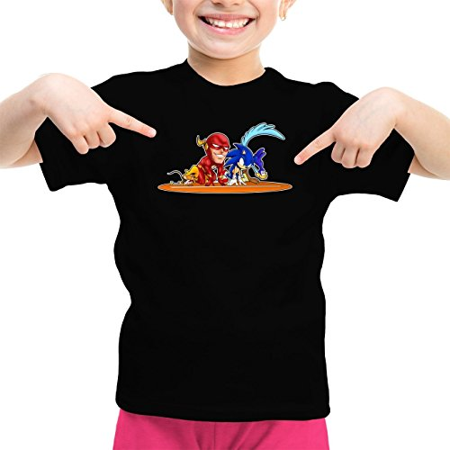 t-shirt-enfant-fille-jeux-video-parodie-flash-et-sonic-et-roadrunner-et-speedy-gonzales-traduction-a