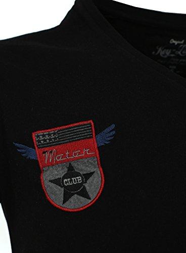 Key Largo Herren T-Shirt ROCKSTAR mit coolen Patches V-Ausschnitt Riders USA Motor Schwarz