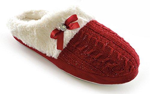 Damen Zopfmuster Lurex Plush Hausschuhe Gefüttert - rot oder schwarz - Rot, UK 5/6 (Euro 38/39) Rot