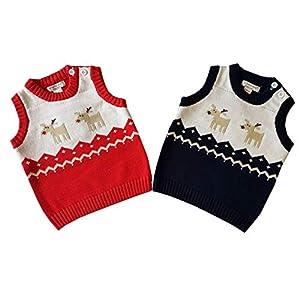 HCFKJ Ropa Bebe NiñA Invierno NiñO Manga Larga Camisetas BEB Conjuntos Moda Navidad Invierno Ciervos SuéTer Caliente… 11