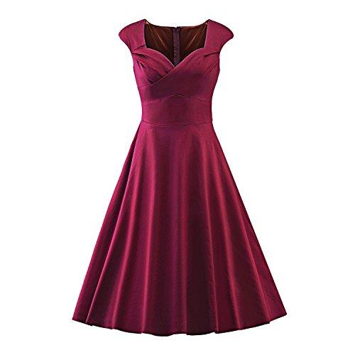 LUOUSE Vintage 50s 60s Hepburn Estilo Cuadrado Cuello Cintura Rockabilly Pinup Swing Fiesta de vestido,vino,xxl