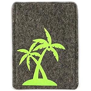 Reisepasshülle aus Wollfilz mit aufgeflockten Palmen, handgemacht