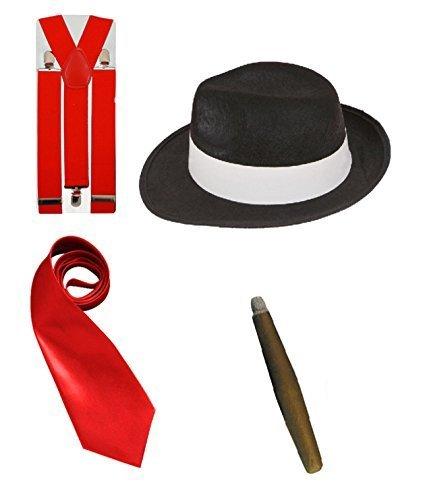 LS Glamour Room Kostümset Gangster aus den 1920erJahren, Schwarz/Weiß/Rot Melone, Krawatte, Hosenträgern und Fake-Zigarre Gr. Einheitsgröße, Red Set