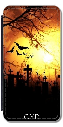 DesignedByIndependentArtists Leder Flip Case Tasche Hülle für Samsung Galaxy S9 (SM-G960) - Halloween Horror Unheimlich Gruselig by Grab My Art