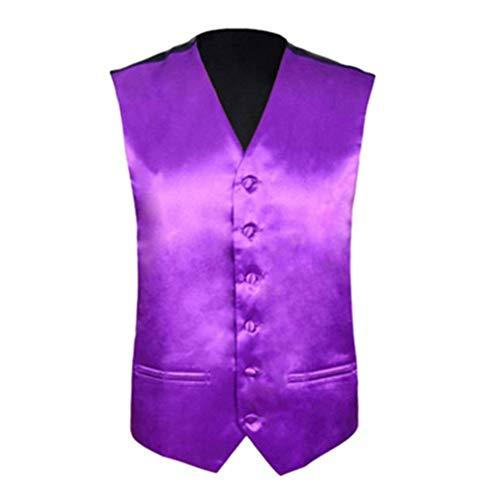 HX fashion Herren Hochzeit Weste Slim Fit Herren Anzug Bequeme Größen Weste Männer Nnlich Gilet Sleeveless Formal Business Jacke Kleidung (Color : Lila, Size : S) (Jacke Herren Forum)