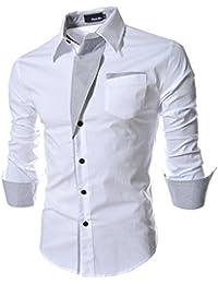 Homme Chic Fashion Chemise de Loisir Manche Longue Shirt Moulée Couleur Contraste