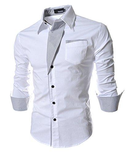 Homme Chic Fashion Chemise de Loisir Manche Longue Shirt Moulée Couleur Contraste Blanc
