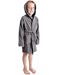 aa83c13846 Boys Girls 100% Breathable Combed Cotton Luxurious Bath Robe Hooded  Towelling Gown Soft Terry Towel