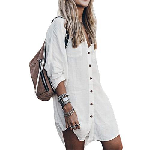 Jungen Kleinkinder L/s Shirt (Damen Casual Langarmshirts, Baumwoll-Leinenbluse High Low Hem Shirt Dress (Color : White, Size : S))