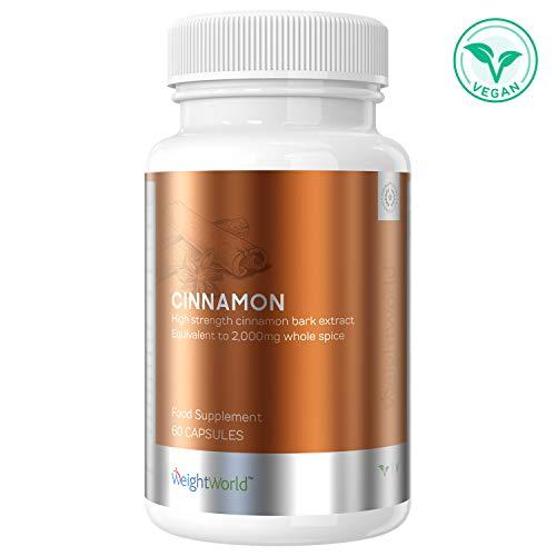 Zimt Kapseln - Tabletten mit 2.000mg pro Dosis, 100% Ceylon Zimt Extrakt hochdosiert, Für die Gewichtskontrolle, Diät Unterstützung, Verdauung & Herz, Vegetarisch und Vegan - 60 Low Carb Kapseln