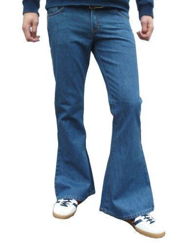 herren denim glocken unterseite vintage stil retro jeans medium stonewashed blau Alle größen - Herren, Stein Wash Hellblau, W34 x Schritt L34