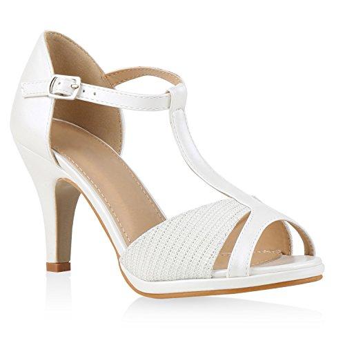 Damen Riemchensandaletten | Glitzer Sandaletten Metallic | Stilettos High Heels | Sommer Party Schuhe | Abiball Hochzeit Brautschuhe Weiss Total