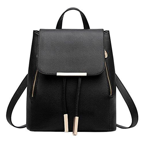 Eleery Damen Frauen PU Leder Elegante Schultertasche Shopping Bag (Schwarz)