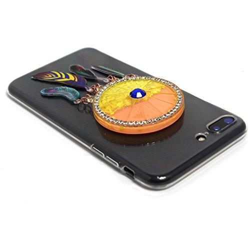 Voguecase Pour Apple iPhone 7 Plus 5,5, TPU avec Absorption de Choc, Etui Silicone Souple Transparent, Légère / Ajustement Parfait Coque Shell Housse Cover pour iPhone 7 Plus 5,5 (la tête de loup/plum Quicksand campanula Saphir-Jaune