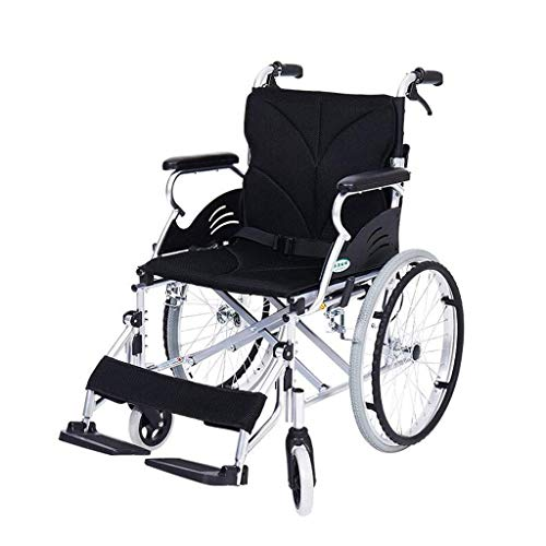 TWL-Wheelchair Rollstuhl-Aluminium-Legierung Rollstuhl Folding Lightweight Small Portable Behinderte Senioren Travel Travel Ultra Light Trolley, Schwarz, 96x63x92cm (Portable Rollstühle, 22)