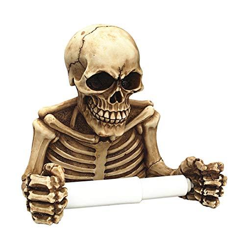 Wei Xi Halloween Toilettenpapierhalter für Badezimmer Deko, Wandschilder, Skulpturen und Neuheit Bad Accessoires oder Gruselige Totenköpfe & Skelette für Mittelalter