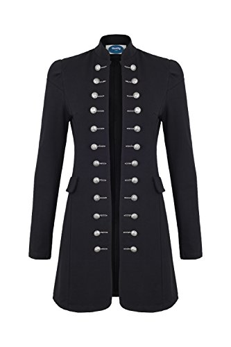 Mantel Damen Piraten Langen Kostüm - 4tuality AO Massimo Military Coat Slim Fit Gr. XXXL Schwarz