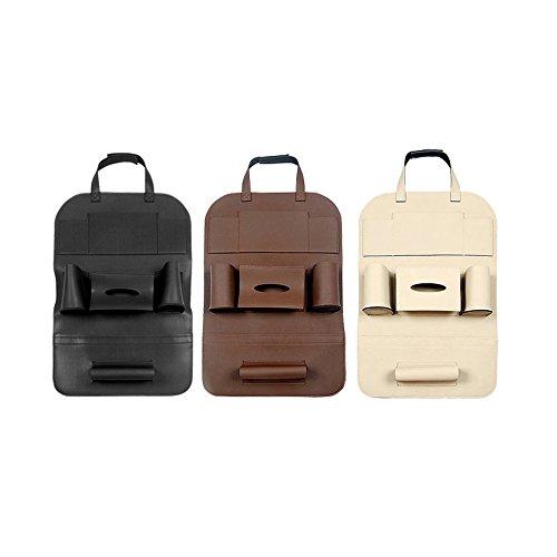 Preisvergleich Produktbild Ya Jin Multifunktions-PU-Leder Auto Rücksitz Organizer Halterung Auto Sitz Zurück Kleiderbügel Auto Zubehör Tasche Aufbewahrungstasche Black(#01)