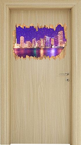 Schöne Nacht-Szene Skyline von Miami Florida Kunst Buntstift Effekt Holzdurchbruch im 3D-Look ,...