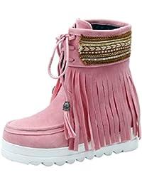 YE Damen Flache Ankle Boots Gefütterte Stiefeletten mit Schnürung und Fransen  Bequem Warm Winter Schuhe 686e2d3402
