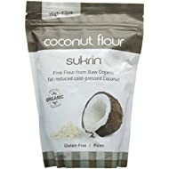 Sukrin Organic Fat-Reduced Coconut Flour, Gluten-Free, Low Carb, High-Fibre, produced from pure, raw coconut, great substitute for flour (400g)