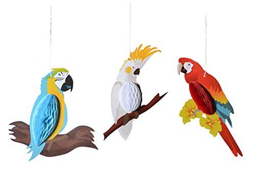 Paper Jazz Lot de 16 lanternes en papier en forme de perroquet en nid d'abeille pour mariage, anniversaire, plage, plage, Hawaï, Luau Tiki Jaune, bleu, vert