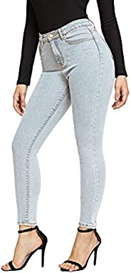 SheIn Women's Casual Solid Ankle Jeggings Pocket Denim Skinny Stretch Jeans P