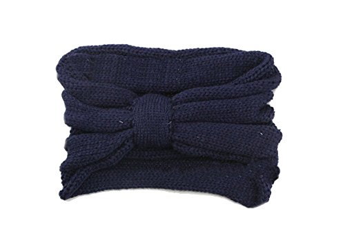 en Handgefertigt Crochet Bogen Turban Strick Stirnband Damen Frauen Winter Ear Warmer Haarband Headwrap Gehörschutz Marine (Blau Bögen)