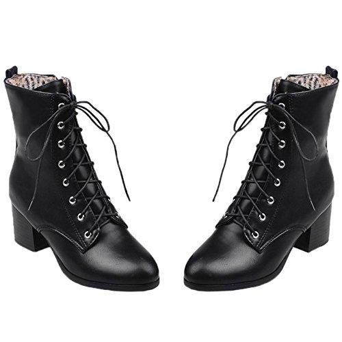 HooH Femmes Bottes de Martin Lacets Kitten Heel Combat Chunky Bottines Noir