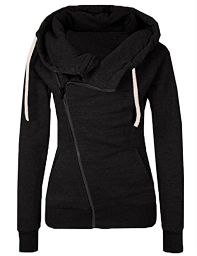 Shinekoo Femmes Lncliné Fermeture éclair Revers Veste Sweat-shirts Automne Vêtement Black