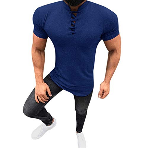 Fenverk Herren Sommer T-Shirt Rundhals Ausschnitt Slim Fit Baumwolle Basic MäNner Crew Neck Jungen Kurzarmshirt O-Neck Kurzarm Sleeve Top Lang Print Casual Shirt(Blau,XXXL)
