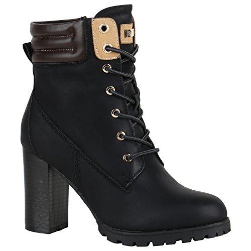 Damen Schuhe Schnürstiefeletten Worker Boots Stiefeletten Block Absatz 150549 Schwarz Autol 38 Flandell