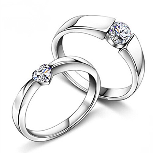 Anvi Jewellers Splendiferous Platinum Plated Couple Ring For Men & Women