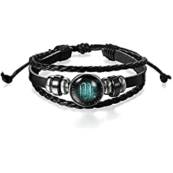 Young & Forever Constellation Zodiac Luck Handmade Black Genuine Leather Unisex Bracelet Scorpio 11