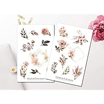 Goldene Rosen Sticker Set | Florale Aufkleber | Journal Sticker | Blumen Sticker | Planersticker