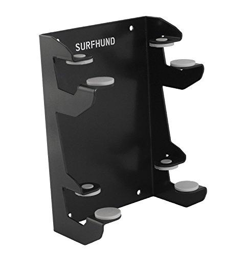 SURFHUND Wandhalterung Multi Horizontal Double: in schwarz oder weiß, Wandhalter für 2 Longboards, Skateboards und Kiteboards (Schwarz)