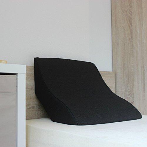 Cuscino grande da lettura e di supporto alla schiena per una seduta ottimale, cuscino cuneiforme, in schiuma, colore: nero