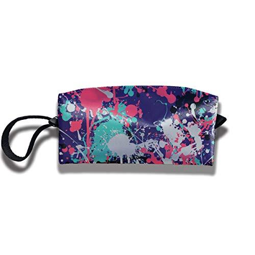 Doinh Nahtlose Spritzlack-Muster Kleine Kosmetiktasche Reisetasche Reißverschluss Wasserdicht Aufbewahrungstasche Tragbare Kosmetiktasche Pailletten Tasche für Mädchen