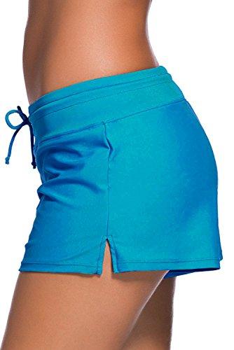 SheShy Maillot de bain femme Tankini Sport Side Split Plus Size Short Shorts Bleu acide
