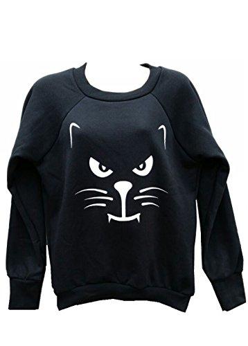 Momo Fashions Damen Mädchen Halloween Scary Cat & Im Scary genug, auch ohne Kostüm Sweatshirt Größe 36-42 (S/M (EUR 36-38), Scary Cat-Sweatshirt-Black)