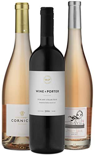 Wine A Porter Porter-Collection, 3 trockene Flaschen Rot- und Roséwein aus Italien und Frankreich, Weinpaket für Genießer, tolles Geschenkset, Jahrgänge 2016/17, 3 x 0,75 l