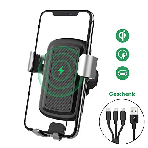 Licheers Wireless Charger Auto Handyhalterung, Qi Ladestation Autohalterung kompatibel für Apple iPhone, Samsung Galaxy oder andere Qi befähigte Geräte - mit 3-in-1 Ladekabel als Geschenk (Schwarz)