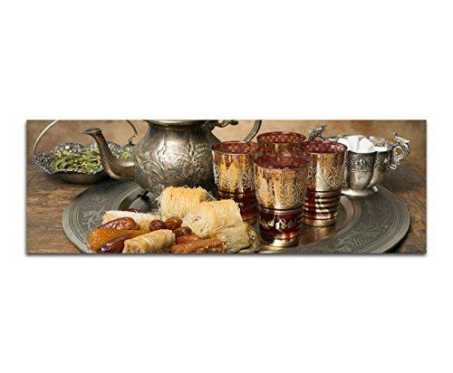 Paul Sinus Art Bilder Wand Bild - Kunstdruck 120x40cm Marokko Tablett Tee Süßigkeiten Orient