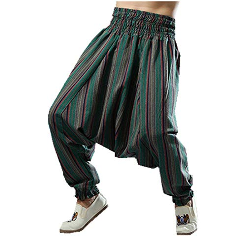Hulday Haremshose Herren Casual Männer Pumphose Nationalen Stil Streifen Nner Pant Einfacher Stil Hippie Baggy Hosen Frühling Sommer (Color : Grün, Size : L)